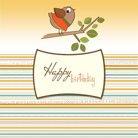 romantic greeting with funny little bird Stock Vector - 11489067
