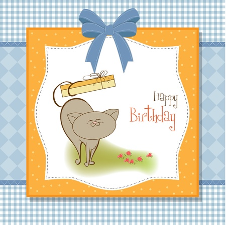 happy birthday card with cute cat Stock Vector - 11489733