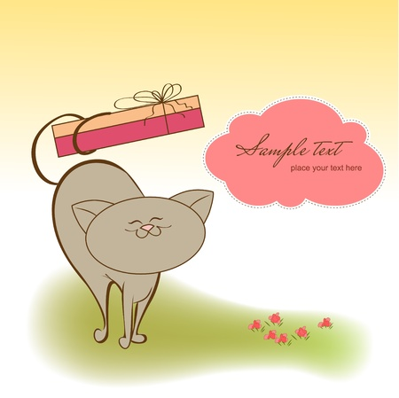 happy valentine s day: greeting card with cat