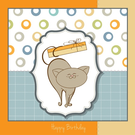 happy birthday card with cute cat  Stock Vector - 11489721
