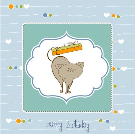 happy birthday card with cute cat Stock Vector - 11489876