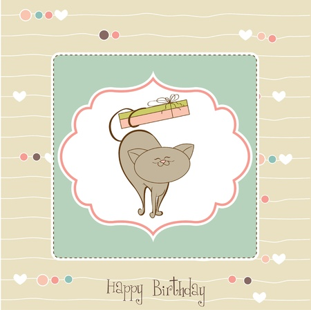 happy birthday card with cute cat  Vector