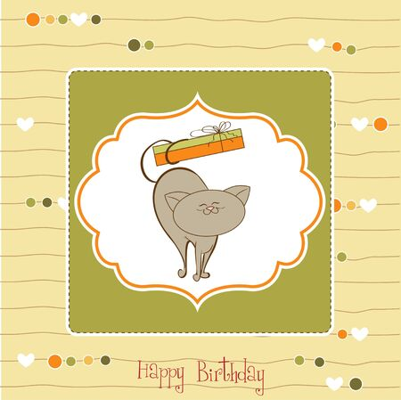 happy birthday card with cute cat Stock Vector - 11489786