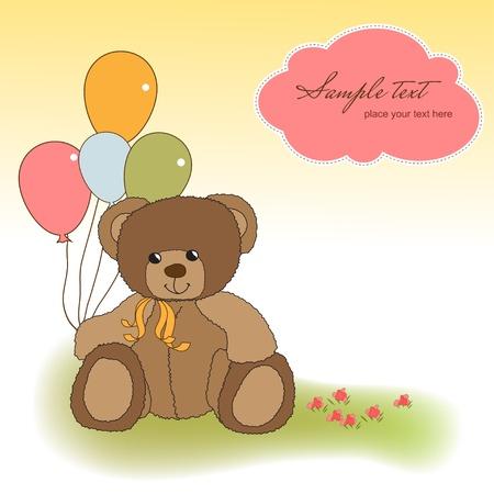 new baby announcement card with teddy bear Stock Vector - 11489708
