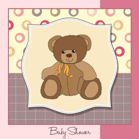 vintage baby: new baby announcement card with teddy bear Illustration