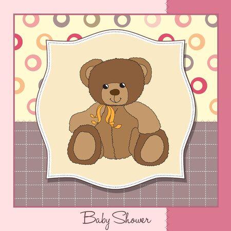 stripping: nuevo beb� anuncio de la tarjeta con osito de peluche