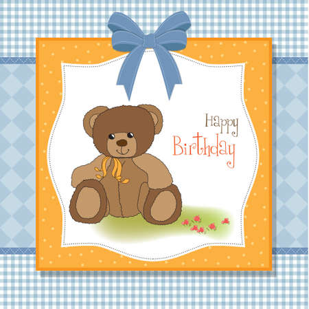 new baby announcement card with teddy bear Stock Vector - 11489750