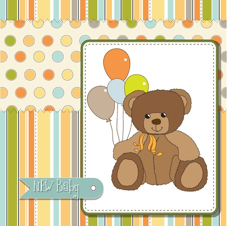 new baby announcement card with teddy bear Stock Vector - 11489654