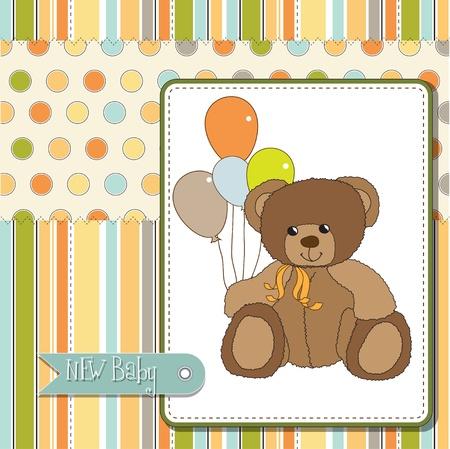 teddy bear love: new baby announcement card with teddy bear Illustration