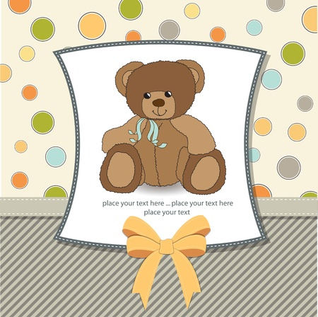 baby boy shower: new baby announcement card with teddy bear Illustration
