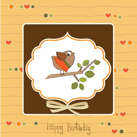 romantic greeting with funny little bird Stock Vector - 11489774