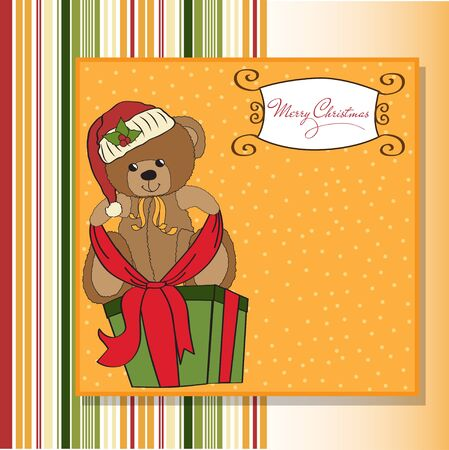 christmas gift box: cute teddy bear with a big Christmas gift box  Illustration