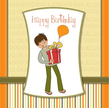 give thanks: greeting card with boy and big gift box  Illustration