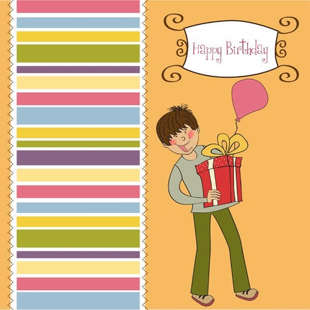 give thanks to: greeting card with boy and big gift box  Illustration