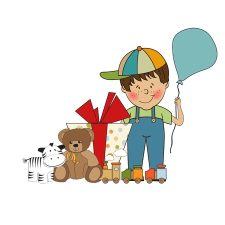 birthday greeting card with little boy and presents  Vector