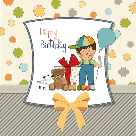 baby toy: birthday greeting card with little boy and presents Illustration