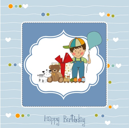 emotional love: birthday greeting card with little boy and presents Illustration