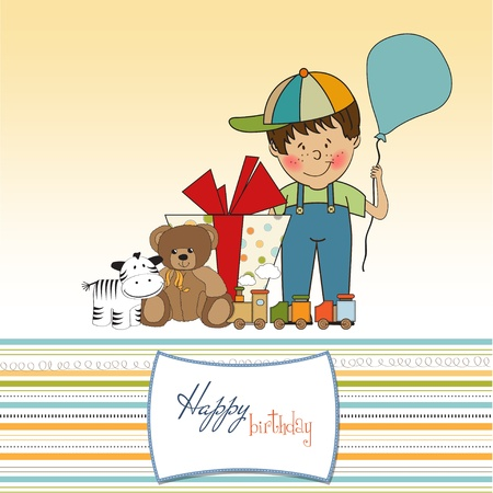 play boy: birthday greeting card with little boy and presents  Illustration