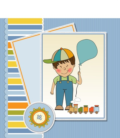 special events: birthday greeting card with little boy and presents  Illustration