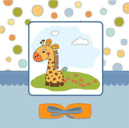 giraffe frame: welcome baby card with giraffe  Illustration