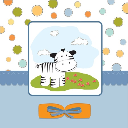 cute baby shower card with zebra  Stock Vector - 11497736