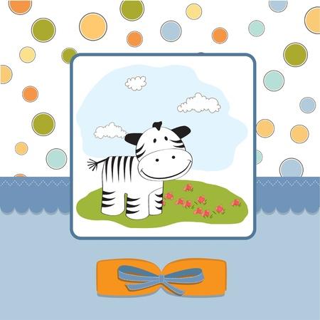 playfulness: cute baby shower card with zebra