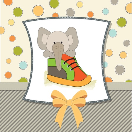 nestling: shower card with an elephant hidden in a shoe