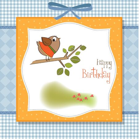 birthday greeting card with funny little bird  Vector