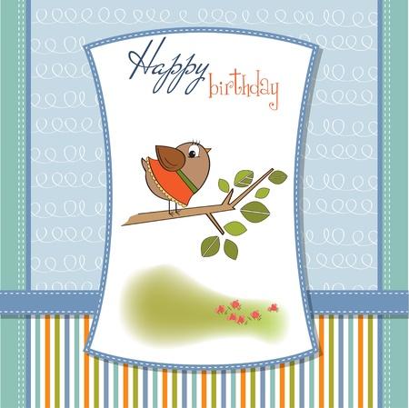 niños con pancarta: cumpleaños de tarjetas de felicitación con aves poco gracioso Vectores