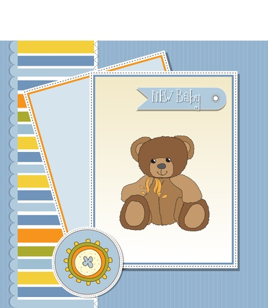 baby greeting card with sleepy teddy bear  Stock Vector - 11497828