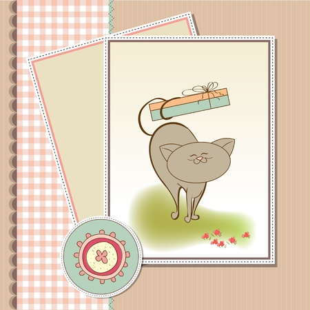 happy birthday card with cute cat  Stock Vector - 11497795