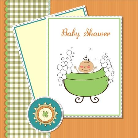 boy bath: delicate baby boy shower card Illustration