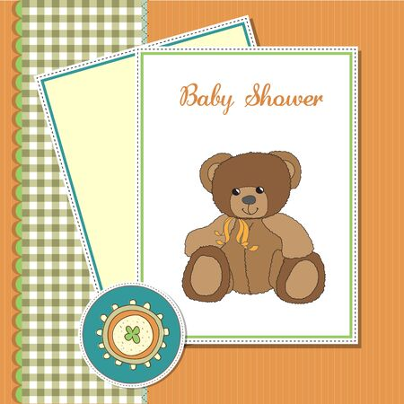 baby greeting card with sleepy teddy bea Vector