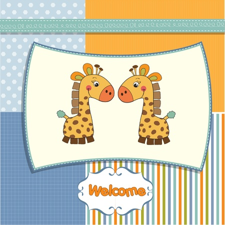 giraffe frame: welcome twins baby card with giraffe  Illustration