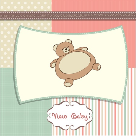 baby shower card with teddy Stock Vector - 12393132