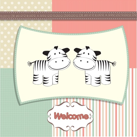 new baby twins arrived card with zebra  Vector