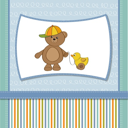 welcome baby card with boy teddy bear and his duck Stock Vector - 12393152