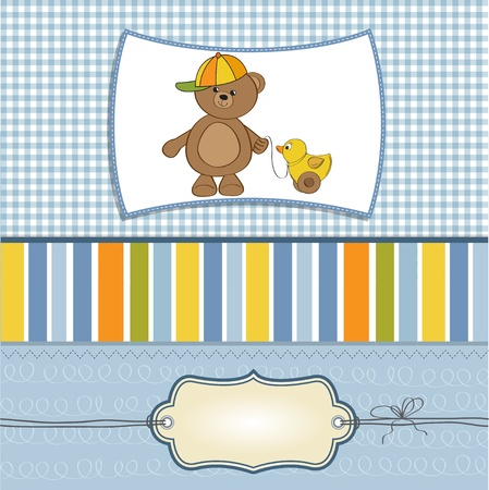 baptism background: welcome baby card with boy teddy bear and his duck