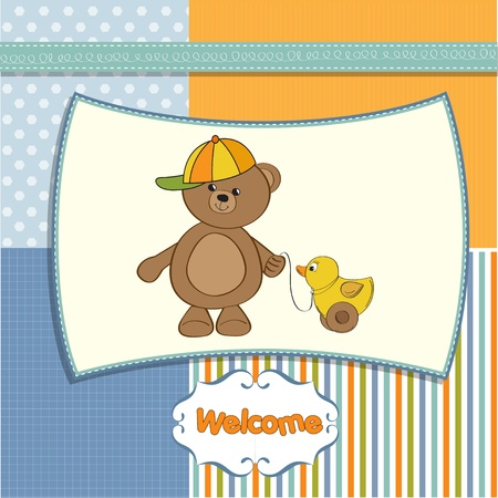 welcome baby card with boy teddy bear and his duck Stock Vector - 12393139