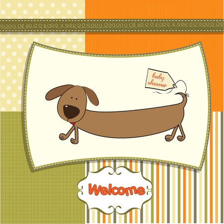 moments: funny baby shower card with long dog