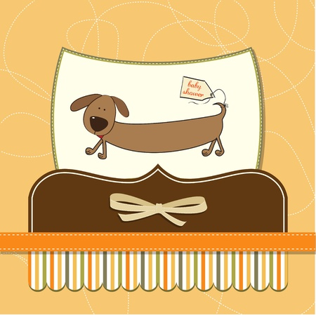 funny baby shower card with long dog Stock Vector - 12393159