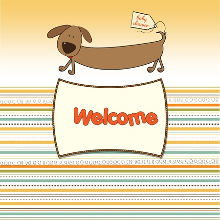funny baby shower card with long dog  Vector