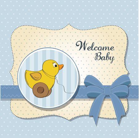 carte de bébé bienvenue avec le jouet de canard