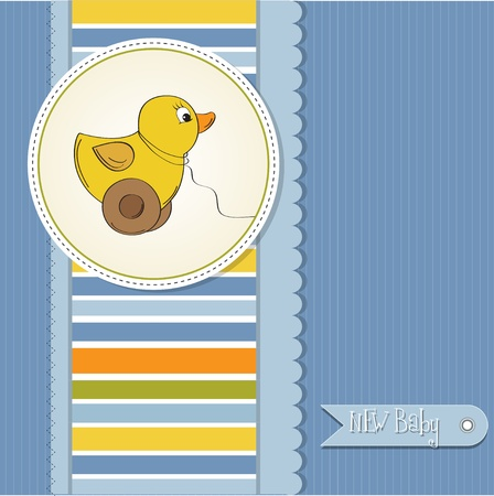 newborn animal: welcome baby card with duck toy