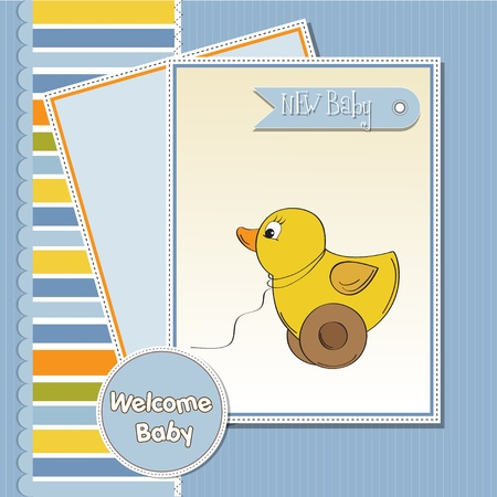welcome baby card with duck toy Stock Vector - 12393128