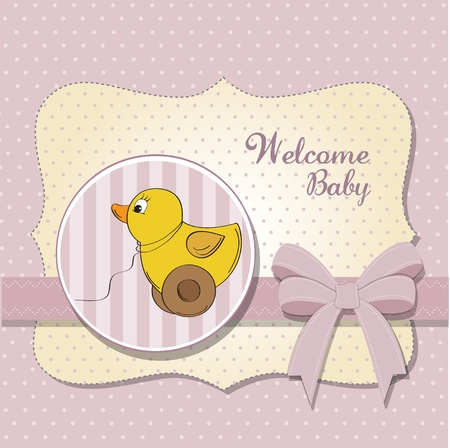 baptism: welcome baby card with duck toy