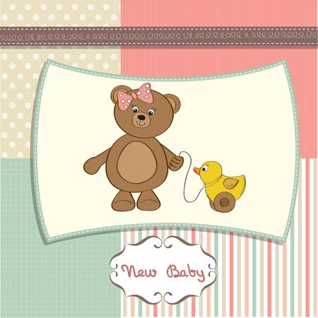 cute greeting card with girl teddy bear  Vector
