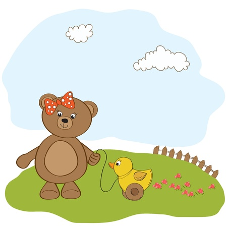 cute greeting card with boy teddy bear  Vector