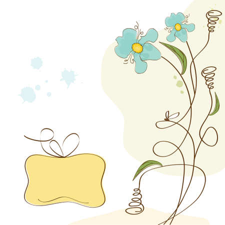 doodle text: vector floral background