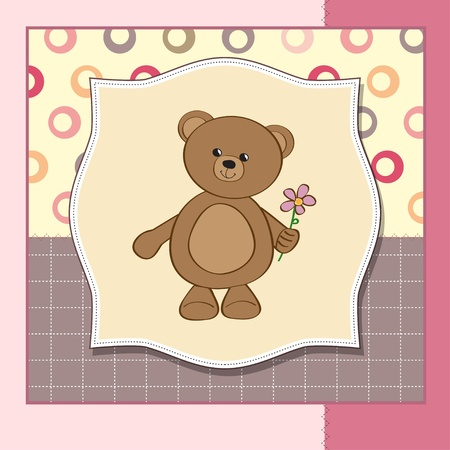 infant baby: happy birthday card with teddy bear and flower